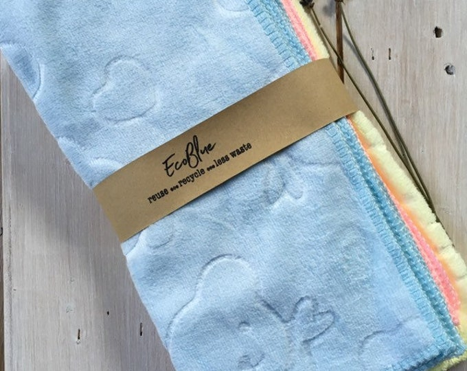 Luxury Bamboo Velour Eco Friendly Reusable Baby Wipes, Washable cloths, Zero Waste, Plastic Free, Set of 6 with zipper plastic bag