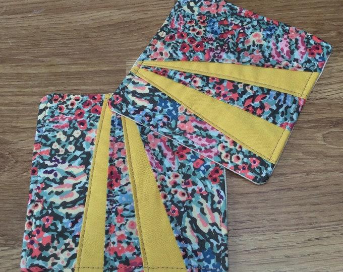 Liberty Fabric Coasters - 1 pair, Mug Rug, Table Mat, Handmade, Yellow Fabric