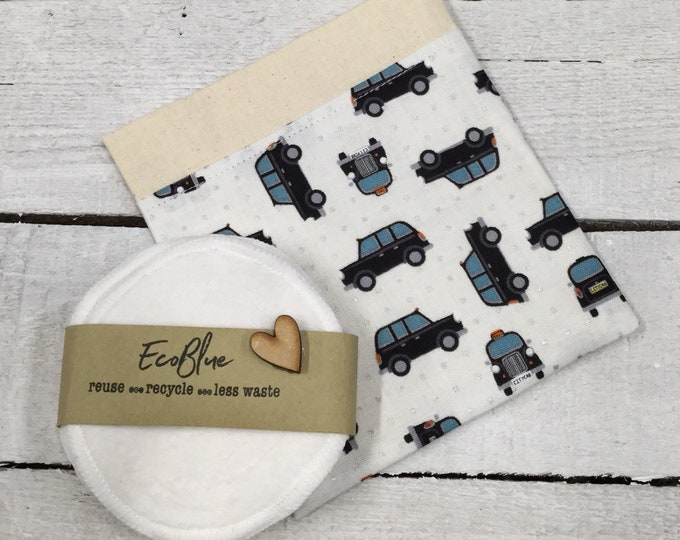 Black taxi re-usable make-up remover wash pads, with handmade fabric travel bag pouch. Face Pads, Eco Friendly Gift, Washable Facial Rounds.
