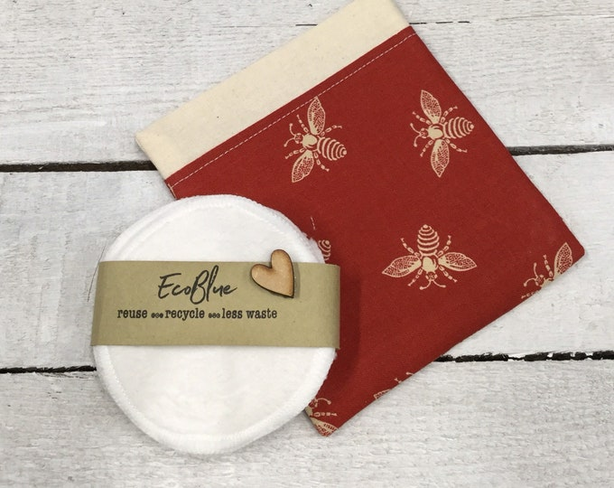 Red bees re-usable make-up remover wash pads, with handmade fabric travel bag pouch. Face Pads, Eco Friendly Gift, Washable Facial Rounds