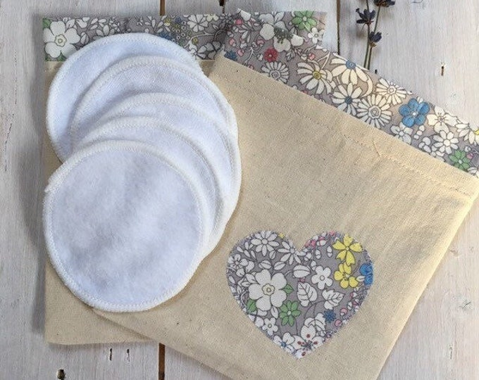 Reusable make-up remover wash pads, with handmade travel bag pouch, grey floral heart applique embroidery