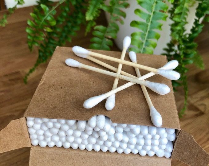 Natural Eco Friendly Bamboo Cotton Buds, cotton swabs, contents approx 100, 1 box or in a paper bag
