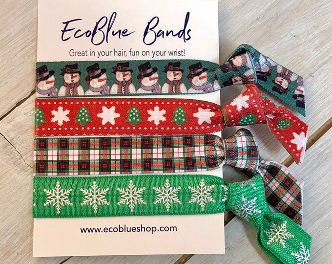 Christmas Hair elastics, soft stretch hair ties, ponies, yoga hair ties, bracelets, ponytail holders - green snowman