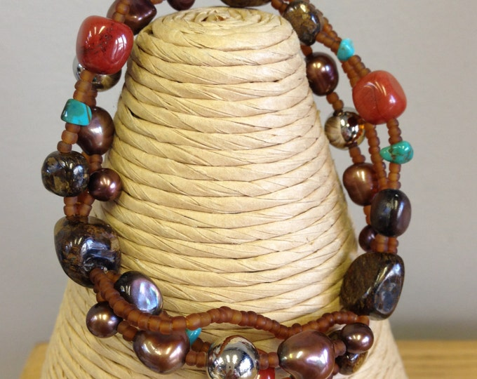 Natural Turquoise, Petrified Wood, Bronzite, Agate, Adventurine, Cultured Pearls Bracelet or Lariat Necklace