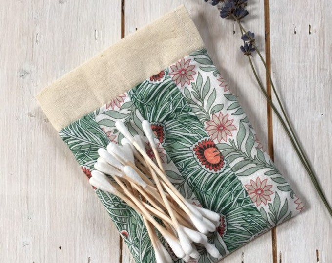 Natural Eco Friendly Bamboo Cotton Buds, contents approx 100, in a handmade Liberty of London fabric bag