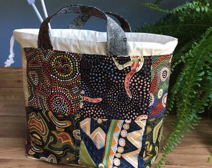 Handmade Knitting Project Bag in Aboriginal art fabric, Craft Holdall, Patchwork drawstring bag, gift for her, gift for knitter