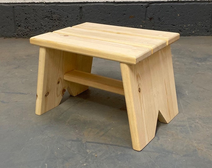 Natural Pine Solid Wooden Foot stool or step, Children's Step and kitchen Help, Handmade
