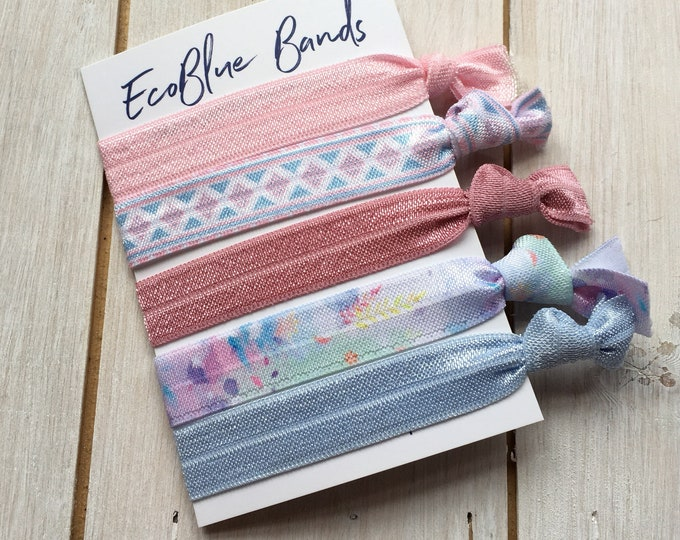 5 hair elastics, soft stretch hair ties, ponies, yoga hair ties, bracelets, ponytail holders - Pastel geo mix