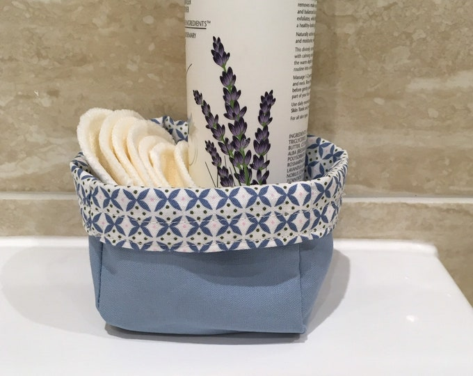 Handmade fabric basket with five soft re-usable make up remover pads, fabric storage box,  reversible fabric organiser,  bathroom tidy