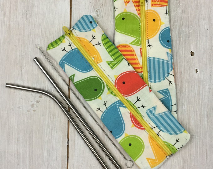 Stainless Steel Straw Set for children (2 straws with cleaning brush)  washable handmade travel pouch