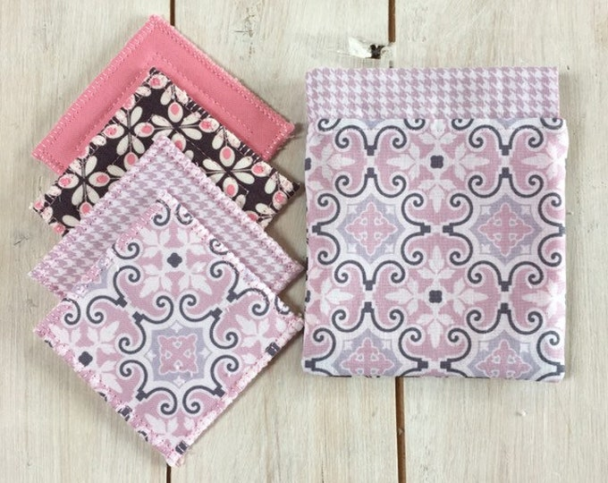 Reusable make-up remover wash pads, handmade travel bag pouch in pink Moroccan fabric. Face Pads, Eco Friendly Gift, Washable Facial Rounds