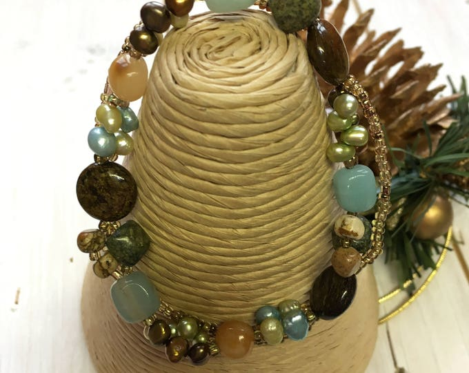 Turquoise, Yellow Jade & Freshwater Pearls Bracelet, Fair Trade, Fairtrade,