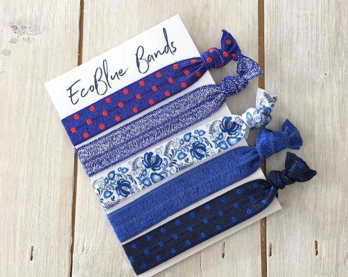 5 hair elastics, soft stretch hair ties, ponies, yoga hair ties, bracelets, ponytail holders - Blue glitter mix