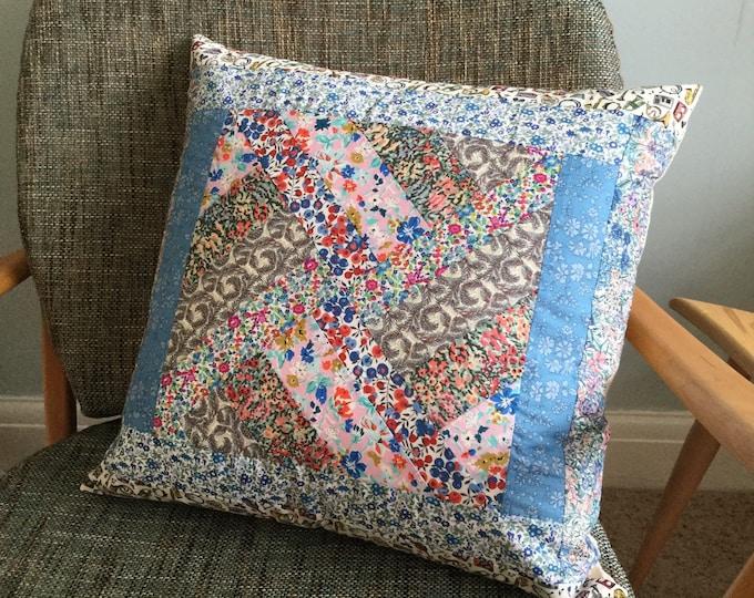 Handmade Liberty of London fabric patchwork cushion