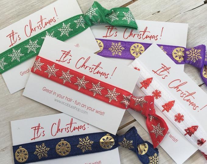 Christmas Hair elastic, stocking filler, soft stretch hair ties, ponies, yoga hair ties, bracelets, - 1 hair tie on card