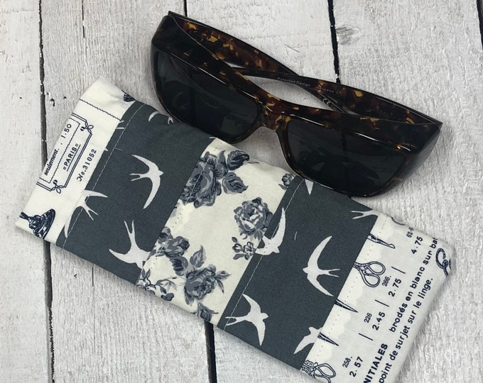 Sunglasses case, pretty  cotton fabric, large size - perfect for fitover sunglasses, handmade,  french navy/grey mix