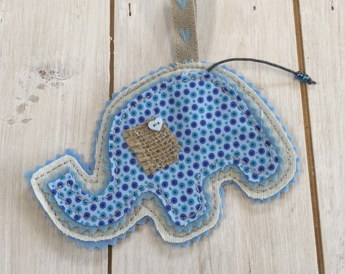 Baby Shower Gift,  Baby Elephant Hanging Decoration, Handmade,  Embroidered, Soft Fabric,  Felt, beads and embellishments
