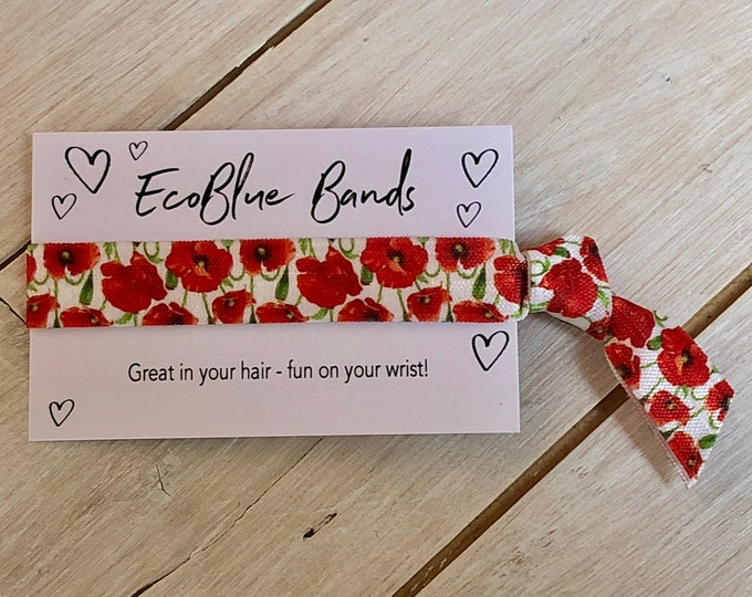 Poppy Hair Elastic, wristband, Yoga Ties,  friendship band (1 single hair tie on card)
