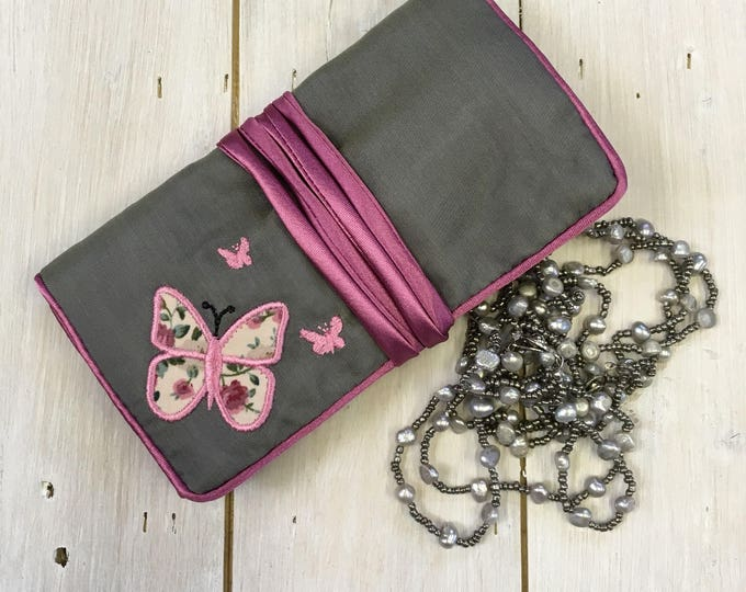Handmade Silk Jewellery Roll,  Embroidered, Grey Silk with Butterfly Applique