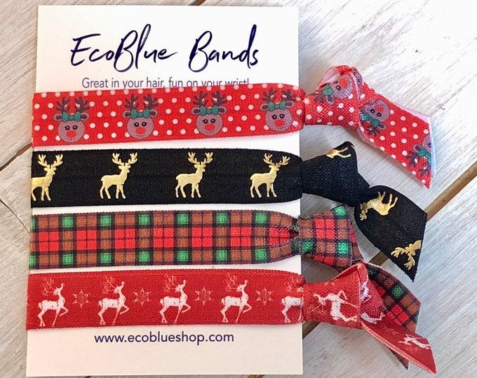 Christmas Hair elastics, soft stretch hair ties, ponies, yoga hair ties, bracelets, ponytail holders - rudolph reindeer