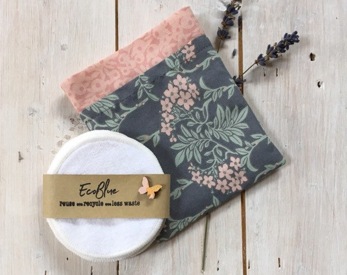 Reusable make-up remover wash pads, with handmade  travel bag pouch in Liberty fabric. Face Pads, Eco Friendly Gift, Washable Facial Rounds