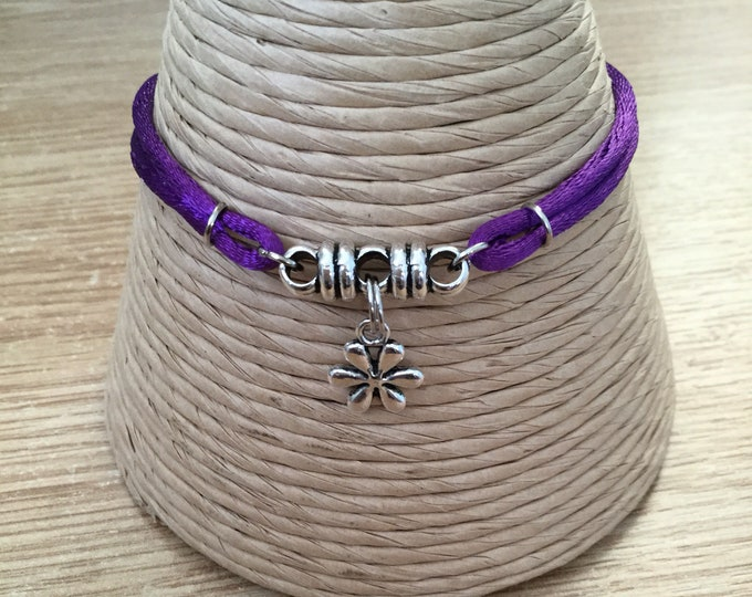 Snowflake charm, purple satin cord bracelet- Handmade, Fairtrade