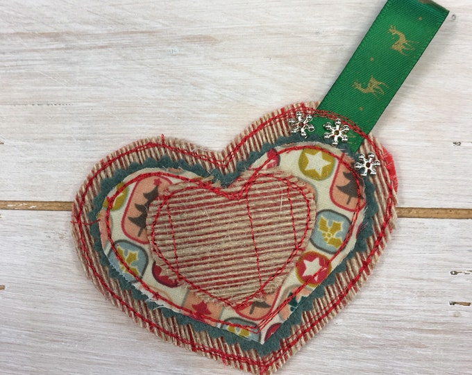 Heart Christmas Tree Hanging Decoration, Handmade,  Embroidered, Natural Burlap Hesian and Holiday Fabric