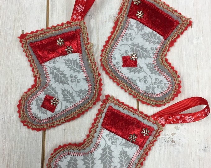 Scandi Christmas Stocking Tree Hanging Decorations, Handmade,  Embroidered, Felt, Holiday Fabric, silver-tone snowflakes  and trimmings