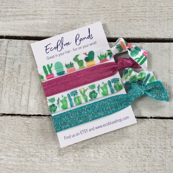 Hair elastics, soft stretch hair ties, ponies, yoga hair ties, bracelets, ponytail holders - Turquoise cactus
