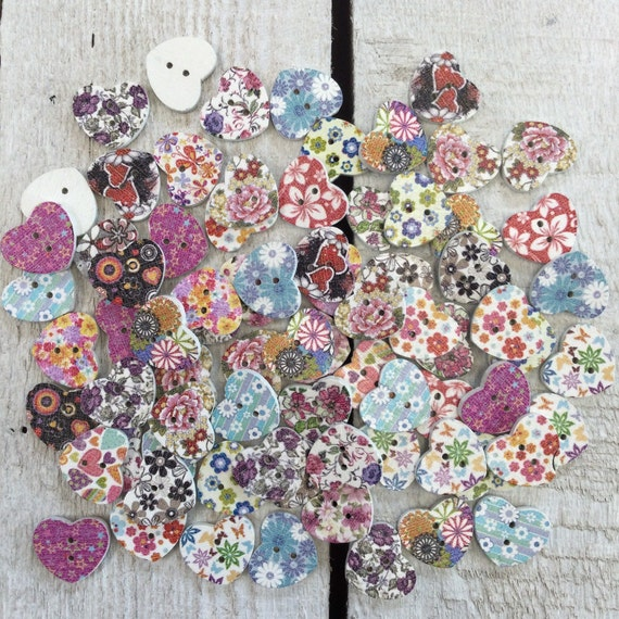 Heart Wooden Buttons, mixed colours and designs - 18mm,  5/8 inch Sustainable, Natural Buttons - pack of 10,