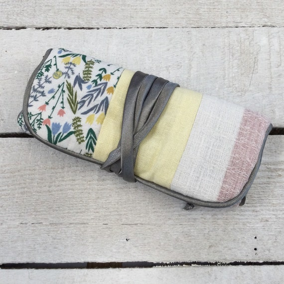 Jewellery Roll - Handmade with pretty spring fabric and luxury grey satin lining