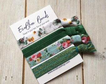 Hair elastics, soft stretch hair ties, ponies, yoga hair ties, bracelets, ponytail holders - Green floral mix