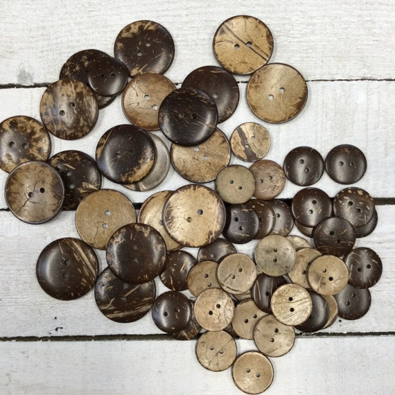 Large Coconut Shell Buttons - Wooden Buttons - 37mm (1.5 inch), 25mm (1 inch), Sustainable, Natural Buttons
