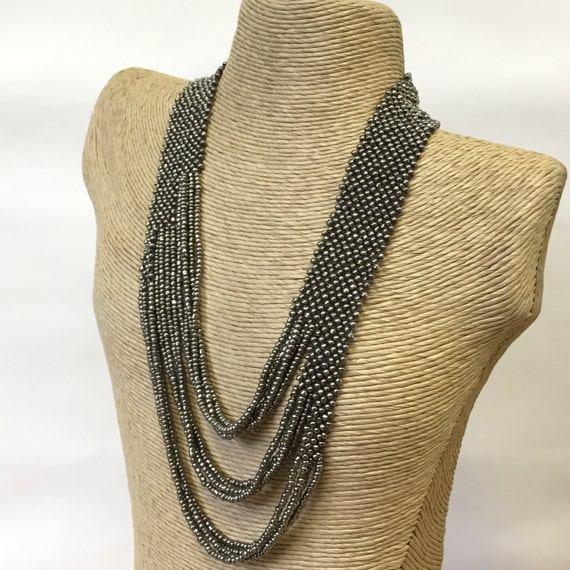 Necklace - Multi-strand seed bead, handmade, layering necklace