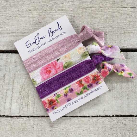 Hair elastics, soft stretch hair ties, ponies, yoga hair ties, bracelets, ponytail holders - Antique Rose