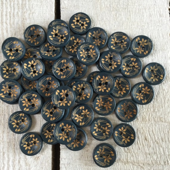 Wooden Buttons- Dark Blue - 2 holes - 15mm, 5/8 inch, Sustainable, Flower Detail, Natural Buttons,  Pack of 10