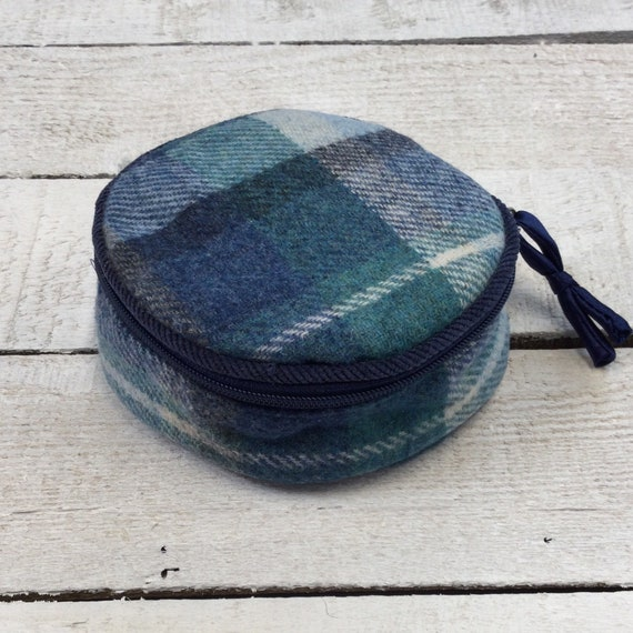 Jewellery Roll - Handmade with luxury English blue tweed and navy satin