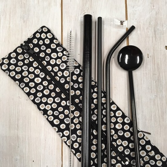 Stainless Steel Straw Set - High quality (3 straws, spoon & cleaning brush) in hygienic washable handmade travel pouch in cotton fabric