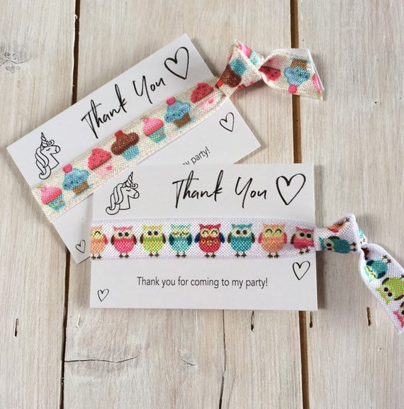 Party bag gift, Hair elastics, party favours, birthday gift, friendship bands, ponytail holders - Thank you for coming to my party