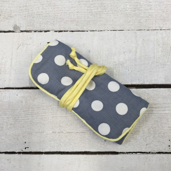 Jewellery Roll - Handmade with grey polka dot fabric, and yellow contrast piping and zips
