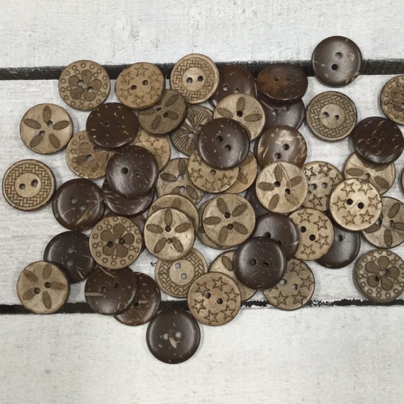 Coconut Shell Buttons - 17mm, Sustainable, Natural Buttons - pack of 10