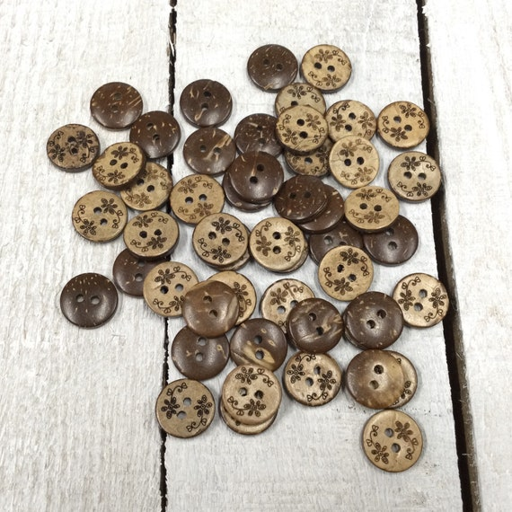 Coconut Shell Buttons - Wooden Buttons - 13mm, Sustainable, Natural Buttons - pack of 12, Flowers Design