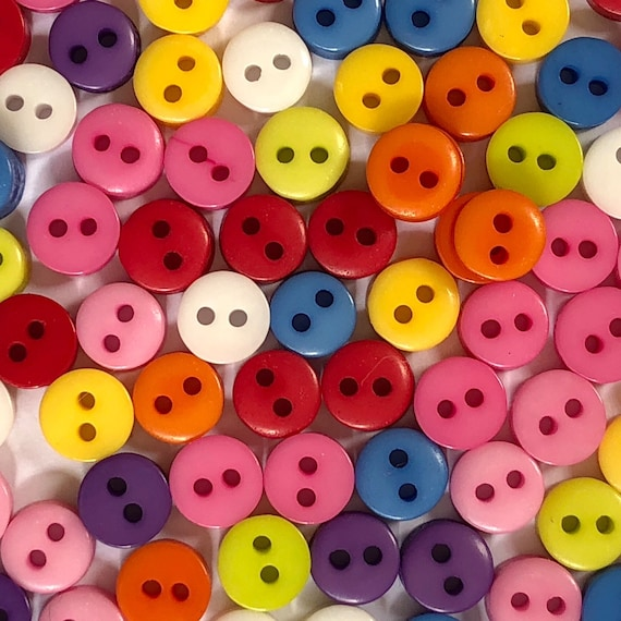 100 Mini Buttons, mixed colours - 5mm,  1/4 inch, great for scrapbooking, dollmaking, dressmaking and crafts