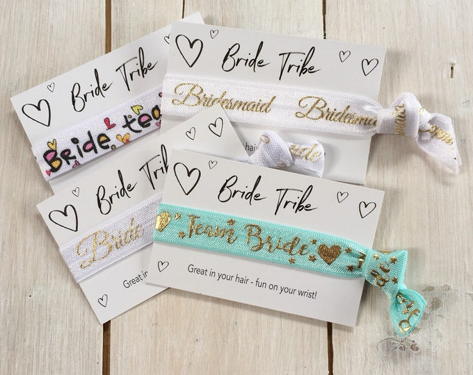 Team Bride, Hen Party, Bridal Shower gift, hen wristband, Ties, Hair elastics, party favours, friendship band (1 single hair tie on card)