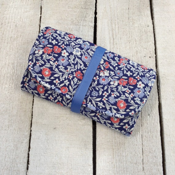 Handmade Jewellery Roll with large zipped pockets, Liberty of London soft blue cotton fabric.
