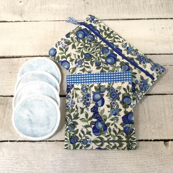Liberty fabric handmade travel or gift bag with reusable make-up remover wash pads. Matching cosmetic purse. Face Pads, Eco friendly Gift,