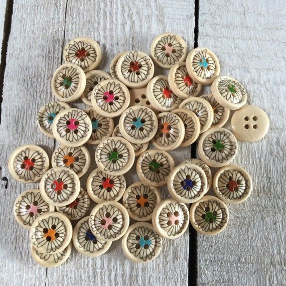 Wooden Buttons, flowers design, mixed colours - 15mm,  5/8 inch Sustainable, Natural Buttons - pack of 12,
