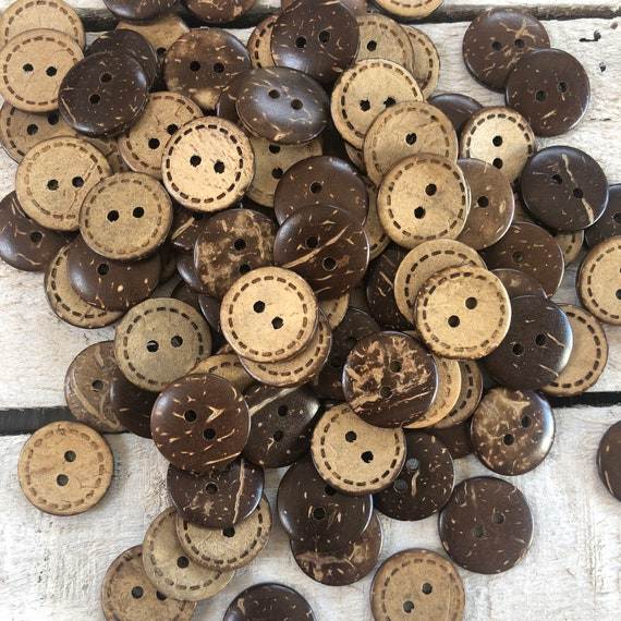 Coconut Shell Buttons - 2 holes - 18mm & 10mm, Sustainable, Natural Buttons, Wooden Buttons, Pack of 10