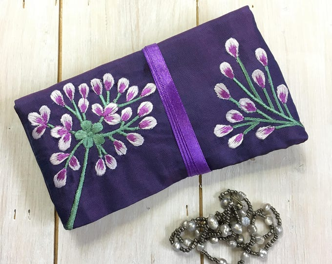 25 x Handmade Silk Jewellery Roll with Embroidery, Fairtrade
