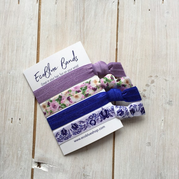 Hair elastics, soft stretch hair ties, ponies, yoga hair ties, bracelets, ponytail holders - Lilac & Blue Flowers